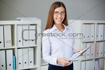 Secretary with document