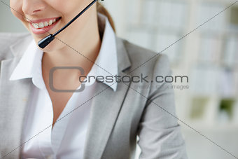 Smile of female operator