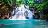 Deep forest waterfall at Huay Mae Khamin, Kanchanaburi Province,
