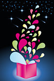 Colorful shapes come out from open gift box - Stock Illustration