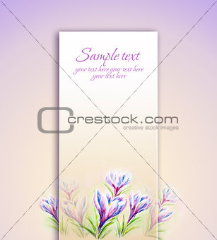 Painted watercolor card with crocus flowers