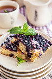 Portion of fresh homemade blueberry cake