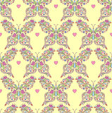 seamless pattern with abstract floral butterflies