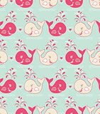 seamless pattern with cute wales