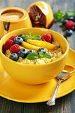 Wheat cereal with fruit and berries.