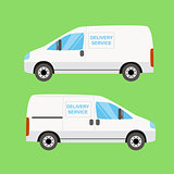White delivery van twice on the green background