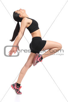 Fitness woman profile dancing doing aerobic exercises