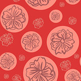 Seamless red pattern with big flowers