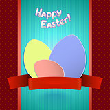 Easter retro card with paper eggs and ribbon