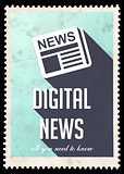 Digital News on Blue in Flat Design.