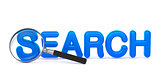 Search - Blue 3D Word Through a Magnifying Glass.