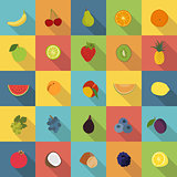 Fruit flat icons vector set