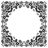 Polish floral folk black embroidery frame pattern - wzory lowickie