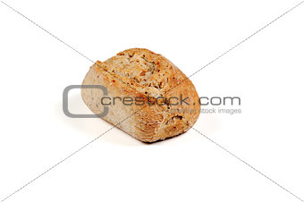 One roll bread on white background