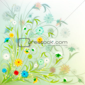 abstract grunge illustration with spring flowers