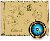 compass with ancient map