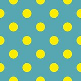 Seamless vector pattern or tile texture with neon yellow polka dots on bottle blue green background.