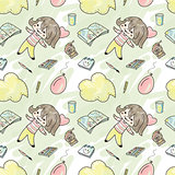 Seamless pattern with girl