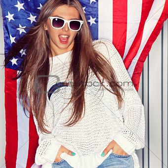 Beautiful patriotic girl