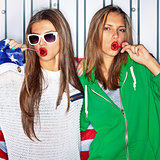 Beautiful patriotic girls with lollipops