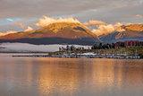 sunrise over Lake Dillon and marina