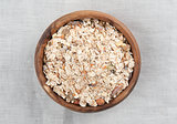 Muesli in a wooden bowl