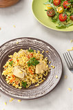 pilaf with chicken and vegetable salad