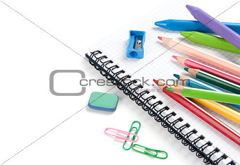 Back to school concept. Office and student accessories on white
