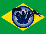 Brazil Flag with Soccer Ball Background