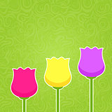 Paper Colorful Tulip Silhouette on Green Abstract Swirl Backgrou