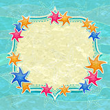 Caribbean Colorful Starfish and Label on Blue Background.