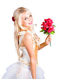 Blond dancing woman with red flowers