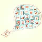 Bird Silhouette with Social Media Icons in Bubble Speech
