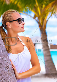 Female enjoying tropical beach