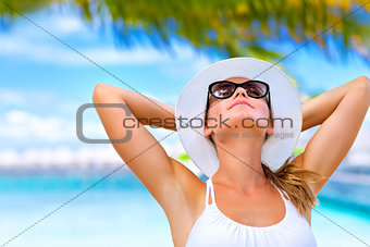 Taking sunbath on the beach