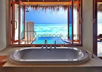 Luxury interior on beach resort