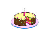 vector birthday cake with colorful with lit candles on a plate
