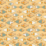 Vintage Brown Green Seamless Fish Pattern