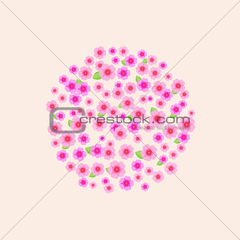 Circle Composed of Pink Flower Silhouettes.