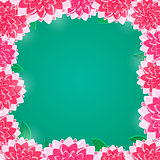 Pink Floral Frame with Shiny Flowers on Green Background