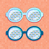 Retro eyeglasses with Blue Clouds