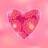 Flower in Heart on Pink Background