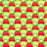Seamless Fruit Pattern with Strawberry and Kiwi.