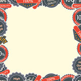 Vintage Quality Labels and Badges in Retro Style Frame