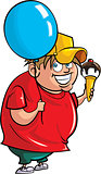 Cartoon overweight boy with balloon and ice cream