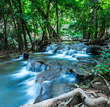 Huay Mae Kamin Waterfall in green forest, Kanchanaburi, Thailand