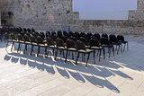 Outdoor cinema and rows of empty black seats in Zadar, Croatia