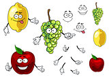 Cartoon smiling apple, grape and lemon fruits