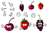 Cartoon cherry, strawberry and blackberry