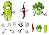 Pepper, radish and cabbage cartoon vegetables